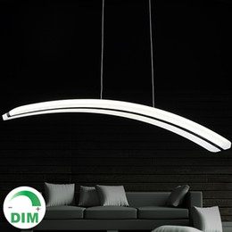 Wholesale Lamp Modern Remote Control - For Parlor dinning room 110V 220V long line PC PMMA arc curve crescent moon shape acrylic led pendant light lamp dimmable