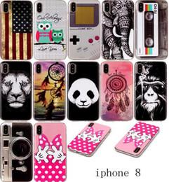 Wholesale Iphone Flags - Cartoon USA Flag Panda Dreamcatcher Bowknot Hand Lion Owl Elephant Soft TPU IMD Case For Iphone X 8G 7 6 6s Plus Samsung S8 PLUS NOTE 8