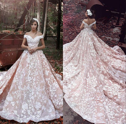 Taglie forti abiti da dea online-2019 Plus Size Dreaming Goddess Ball Gown Wedding Dresses 3D Flora Appliques Sheer Back Off-shoulder Luxury Romance Bridal Gowns Custom Made