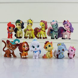 Wholesale Wholesale Kids Collectables - Cute Princess Palace Pets PVC Action Figure Toy Collectable model toys for kids gift 12pcs set