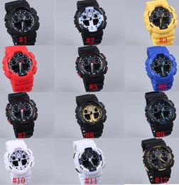 Wholesale Boys Wristwatch Led - 5pcs lot relogio G100 men's sports watches, LED chronograph wristwatch, military watch, digital watch, good gift for men & boy, dropship