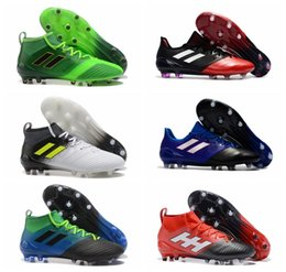Wholesale Cheap Men High Top Shoes - New arrival 2017 cheap blackout soccer cleats ACE 17.1 FG high top football boots new mens soccer shoes messi shoes outdoor gold purecontrol