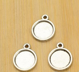 Wholesale 12mm Silver Pendant Trays - 50PCS inner:12mm Round Pendant Trays Antique Silver, Round Cabochon Setting Blank Tray, Round Pendant Blanks For Cameo