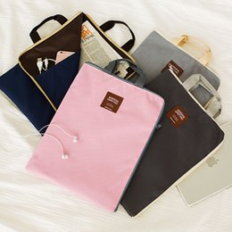 Wholesale A4 Paper Storage - Wholesale- J03 Korean Simple Solid A4 Big Capacity Document Bag Business Briefcase Storage File Folder for Papers Stationery Student Gift