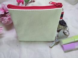Argentina Moda Crema blanca de algodón puro monederos de lona DIY en blanco llanura bolsos pequeños w / cremallera negro unisex carteras ocasionales bolsas de llaves Suministro