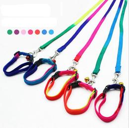 Wholesale Wholesale Rainbow Nylon Dog Collars - Rainbow Dog Leashes Nylon Adjustable Pet Dog Collar Puppy Necklace Rope Collar Pet Supplies 1*120cm YW173