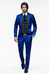 Wholesale Men Purple Girdle - Wholesale-One Button Royal Blue Groom Tuxedos Groomsmen Men's Wedding Prom Suits Custom Made (Jacket+Pants+Girdle+Tie) K:232