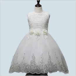 Wholesale Dress High Grade - 2018 high grade new formal princess ball gown wedding flower girl dresses 6t for summer long flower sequined bow lace dress for kids white