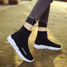 Wholesale Cheap Green Socks - Speed Trainer Boots Socks Stretch-Knit High Top Trainer Shoes Cheap Sneaker Black White Woman Man Couples Shoes Casual Boots