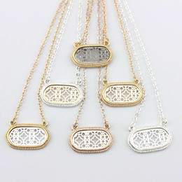 Wholesale Gold Oval Necklace - Christmas Gift Hot Selling Gold Silver Rose Black Cut Out Filigree Oval Pattern Geometric Statement Necklace Hollow Oval CXhoker Necklace
