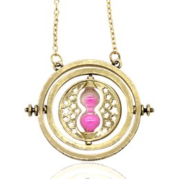 Wholesale Harry Potter Necklaces - Harry Potter Necklace Time Turner Necklace Hourglass Harry Necklace Hermione Granger Rotating Spins Fashion Gold Hourglass