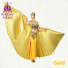 Wholesale Belly Dance Wings Gold - 2017 New Egyptian Egypt Belly Dance Costume Isis Wings Dance wear (no stick) 11 colors