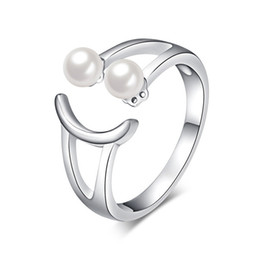 Wholesale Pearl Smile - 2016 New Fashion Openings Adjusted Smile Pearl Rings 925 Sterling Silver Trendy Cute Jewelry Pretty Women Rings Party Nice Gift
