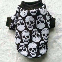 Wholesale Fiber Clothes - 3 Colors Skull Dog Hoodie Autumn Winter Dog Clothes for Small Dog Pet Coat Jacket Outfit Shih Tzu Yorkies Clothes Puppy Clothing XXS-L
