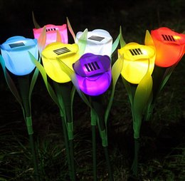 Wholesale Colorful Led Rose Light - Outdoor LED Solar Light Landscape Path Premium quality rose shape bright colorful LED solar lights Outdoor Yard Lamp Solar Lamp Garden