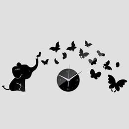 Wholesale Elephant 3d Stickers - 2016 sale Acrylic Quartz clock wall watch baby elephant butterflies art mordern design diy 3d mirror sticker decor freeshipping TY1964