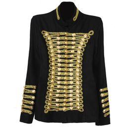 Regalo de Navidad para 2016 Nueva llegada Marca Chaquetas Mujer Napoleon Uniforme militar Estilo Negro collar de soporte Abrigo de lana delgado de doble botonadura desde fabricantes