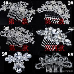 Wholesale Tiara Wedding Jewelry - Bridal Wedding Tiaras Stunning Fine Comb Bridal Jewelry Accessories Crystal Pearl Hair Brush utterfly hairpin for bride