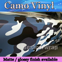 Wholesale Matt Blue Wrap - Large Blue white Snow Camo Vinyl Car Wrap Styling With Air Rlease Gloss  Matt Arctic blue Camouflage covering car decals 1.52x30m Roll