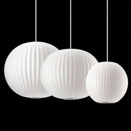 Wholesale White Silk Pendant Light - Silk Chandelier Light E27 Round Suspension Drop Lamp Modern Restaurant Bar Restaurant Chandelier