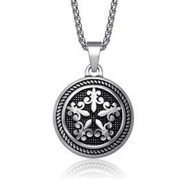 Wholesale Mens Titanium Cross Pendant - 316l Stainless Steel Cross Necklaces Pendants Punk Mens Round Titanium Steel Vintage Fashion Gothic Jewelry SP126