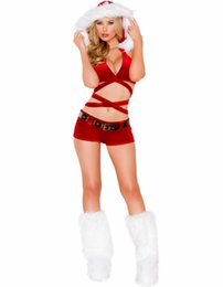 Wholesale Santa Costumes Woman - Sexy Lingerie Santa Christmas party Xmas Fancy Dress Clubwear EXOTIC STRIPPER Mascot Costumes BS115