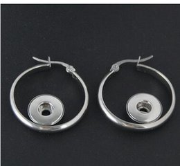Wholesale Diy Hoops - new 12mm stainless steel hoop earring noosa chunks snap button charm earrings giner button earring fit 12mm diy handmade jwlwery accessories