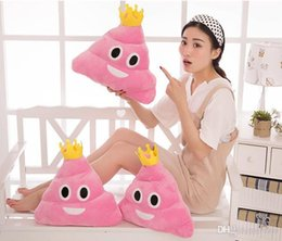 Wholesale Amuse Plush - 2016 New Cute Pillow Emoji Emoticon Cushion Shape Pillow Doll Toy Throw Pillow Amusing Poo Shape Cushion emoji pillows 35cm with crown