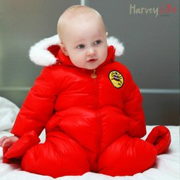 Wholesale Down Coat Overall Girl - Harvey&Bo baby toddler's one piece down coat overalls infant snowsuit boys girls hoodie romper baby winter clothes