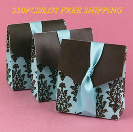 Wholesale Turquoise Wedding Favor Boxes - 250pcs lot Wedding Paper box Turquoise and Brown Flourish wedding Favor Box for romantic wedding and Party favors box express free shipping