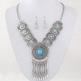Wholesale Retro Circle Earring - Retro Collares Jewelry Sets For Women Fine Accessories Wedding Bridal Circle Part Pendant Necklace Earrings Set