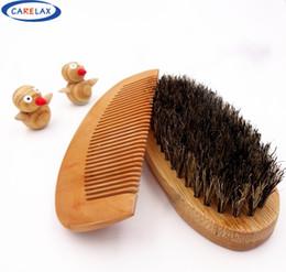 2019 escovas de javali atacado Escova de barba de conjunto de pente atacado-pente para homens de bambu com 100% de cerdas de javali massagem de rosto que funciona maravilhas para pentear barbas e bigode escovas de javali atacado barato