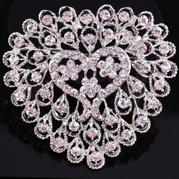 Wholesale China Bouquet - Hot Sell Crystal Heart Shape Wedding Bouquet DIY Flower Jewelry Brooch Bridal Bridesmaid Holding Flowers Pin Brooches