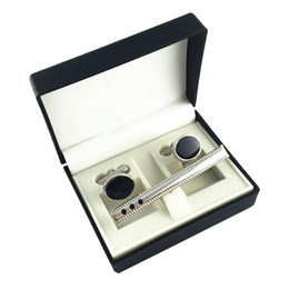 Wholesale Tie Cufflink Boxes - Black Cufflinks & Tie Clip set Box plastic jewelry box Black Fashion good quality box GREAT DEAL CTB104
