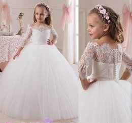 Wholesale Joan Calabrese Lace - 2016 New Joan Calabrese Flower Girls Dresses For Weddings Gowns 3 4 Long Sleeves Vintage Lace Ball Gown Birthday Pageant Dresses For Girls