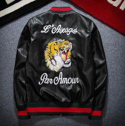 Wholesale Motorcycles Jackets - leather jacket men jaqueta de couro masculino chaqueta campera tiger embroidery bomber jacket baseball motorcycle pilot jacket