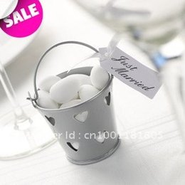 Wholesale Bucket Tin Box - Free Shipping 100pcs lot, Silver Heart Hollow Out Tin Pails,Wedding candy box, Mini Bucket,Tin Pails favors boxes.