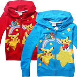 Wholesale Blue Turtle Kids - Cute baby Boys Pikachu Hoodies Poke go Sweatshirts 2 Color children Bulbasaur Jeni turtle Poke Ball Long sleeve Hoodie jacket kids coat