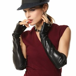 Wholesale Long Gloves Woman - Fashion Top Lambskin Gloves Adult Women Opera Fingerless Glove 46cm Long Solid Real Genuine Leather Dressing Mittens Rushed