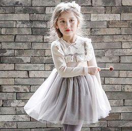 Wholesale Tulle Dresses For Children - Children party dress fashion lace falbala splicing tulle tutu dress for kids knee length princess dress autumn new big grils clothes T0230