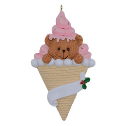 Decorazioni per la prima festa di compleanno online-Maxora Bear Ice Cream Resin Handcraft Baby 1st Christmas Ornaments Regali personalizzati Charity Birthday Cake For Party Decoration