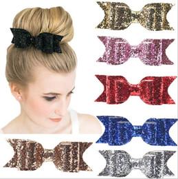 Wholesale Decoration For Hair Women - Bow hair clips Kids Barrettes Hair Accessories spring clips shining powder Bows for kids women decoration European Hotsale 2016 cheap