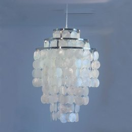 Wholesale Lamp Seashells - 3 Circle DIY modern contemporary white seashell capiz pendant lamps Dia 35cm Verner Panton Fun Shell lamps for bedroom home