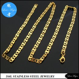 Wholesale Thin Men Gold Necklace Chain - Classic 63cm long 5mm wide fashion Gold Plated stainless steel flat thin chain necklace jewelry for man and woman