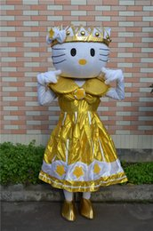 Wholesale Imperial Crown Dress - Hotsale Mascot Costume Adult Size Hig Quality Imperial crown GOLD Love sweet Hello Kitty Cartoon Character Costumes Fancy Dress Suit
