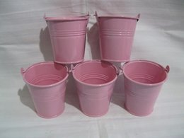Wholesale Small Pot For Flowers - Pink D7*H7CM Mini flower pot planter small seeds metal pots bucket easter egg pots decorative pail for girl birthday