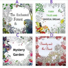 Wholesale Magic Draw - 4 Design Secret Garden Beauty and the Beast Coloring Book Children Relieve Stress Kill Time Graffiti Painting Magic forest Drawing Book B001