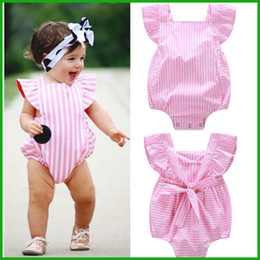 Wholesale Baby Sleeveless Bodysuits - toddler baby boys girls rompers new arrival stripes pink solid lovely baby girls bodysuits children kids outfits free shipping