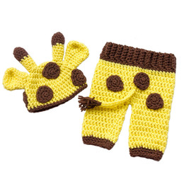 Wholesale Giraffe Girls - Lovely Newborn Giraffe Costume,Handmade Knit Crochet Baby Boy Girl Animal Hat and Shorts Set,Baby Halloween Costume,Infant Photo Prop