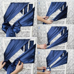 Wholesale Cheap Purple Chair Sashes - 2017 Elegant Chair Sash For Wedding Factory Sale Cheap Simple Satin Chair Covers For Formal Party Weddding Decorations Custom Made